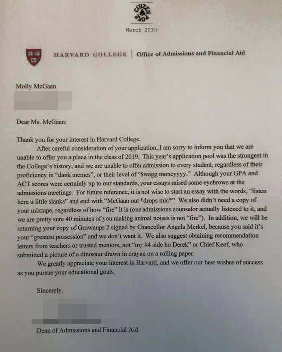 fake college acceptance letter