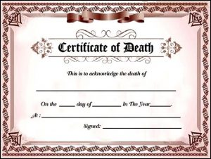 fake death certificate fake death certificate template for free
