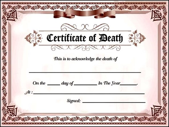 Fake Death Certificate  Template Business