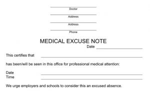 fake doctors excuse excuse note example