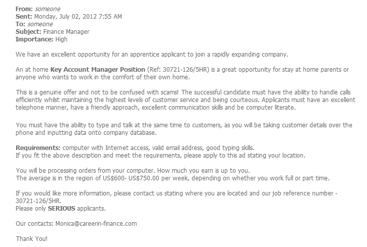 fake job offer emails