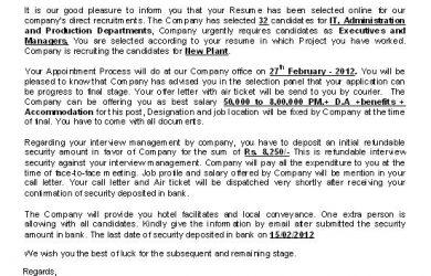 fake job offer emails wipro