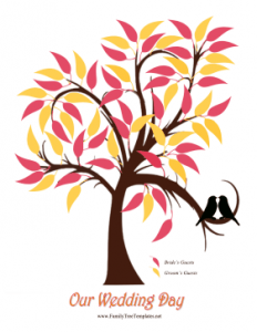 family newsletter template wedding leaves tree