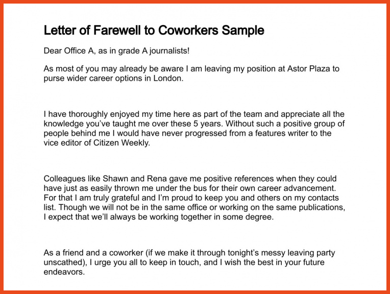 farewell email to coworkers