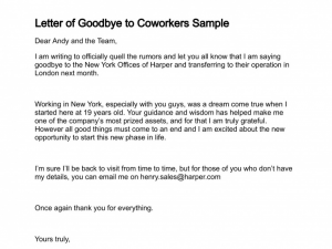 farewell email to coworkers letter of goodbye to coworkers sample