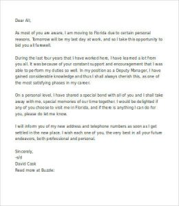 farewell letter to colleagues professional goodbye letter to coworkers