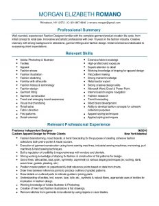 fashion designer resume fashion design and merchandising resume pdf