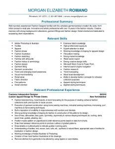 fashion designer resume fashion design and merchandising resume pdf