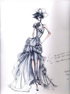 fashion designer sketches the sin of flowers
