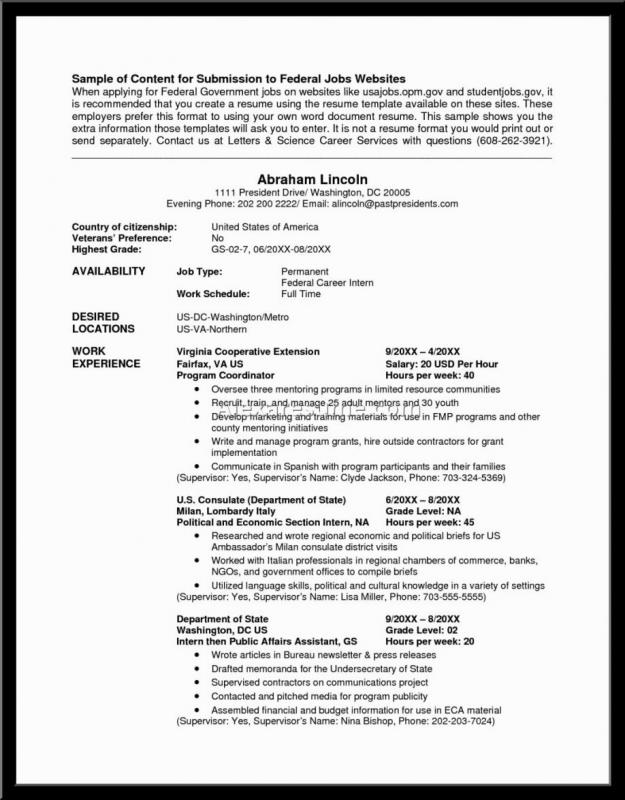 Federal Resume Example | Template Business