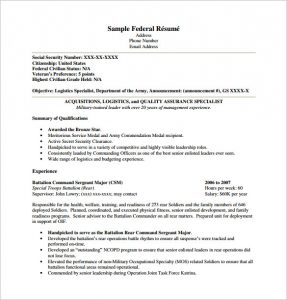 federal resume template federal resume template pdf free download - Resume Templates Pdf Free