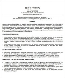 federal resume template financial manager federal resume template