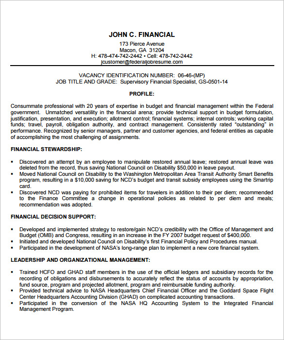 Federal Resume Template  Federal Government Resume Template