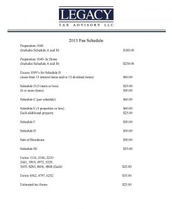 fee schedule template tax advisory fee schedule~~element