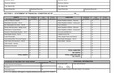 fillable personal financial statement personal financial statement