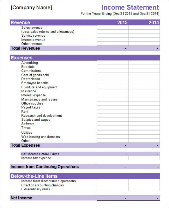 Financial Statement Template  Blank Income Statement