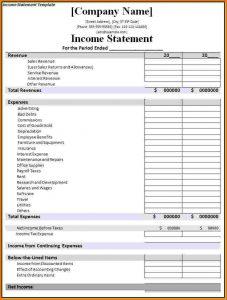 financial statement templete financial statement template income statement template