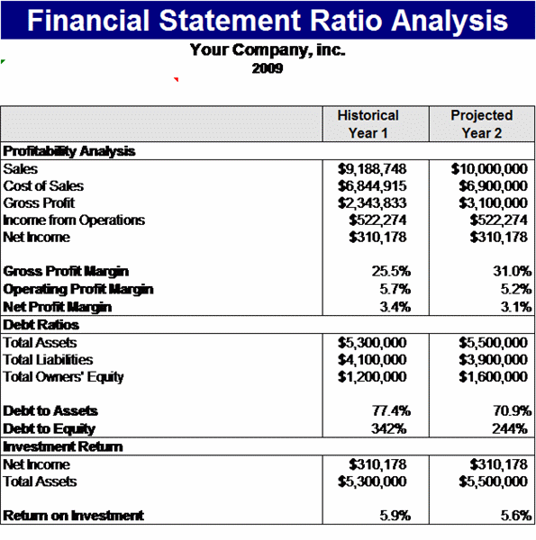 financial statements templates