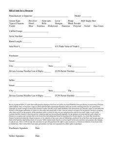 firearm bill of sale florida firearm bill of sale