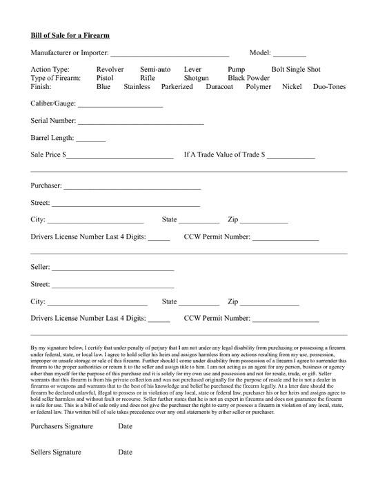 firearm bill of sale florida