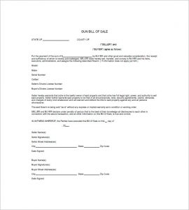 firearm bill of sale florida free gun bill of sale template