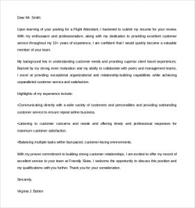 flight attendant cover letter airline flight attendant cover letter