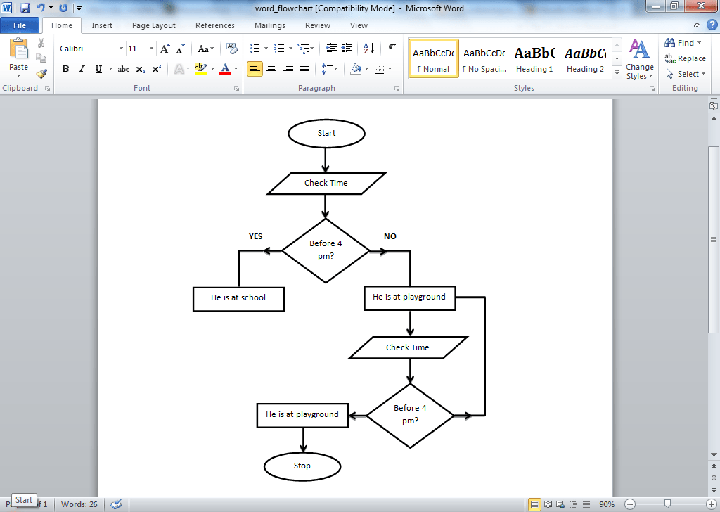 Flow Chart Template Word  Ms Word Chart Templates