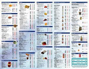 food calorie chart d