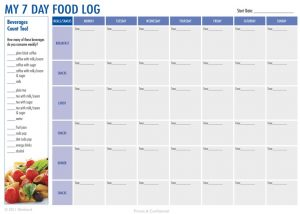 food diary pdf day food diary printable