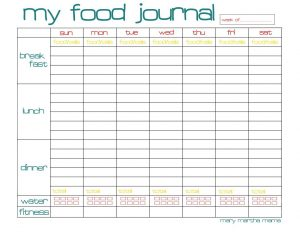 food diary pdf food journal printable for week