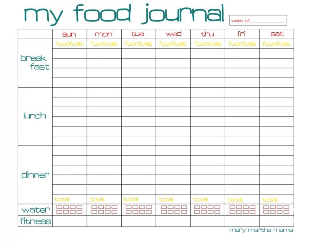 graphic about Printable Food Journal Pdf referred to as Meals Diary Pdf Template Place of work