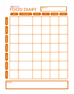 food diary template food diary template