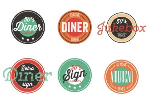food drive poster vintage s diner label collection vector