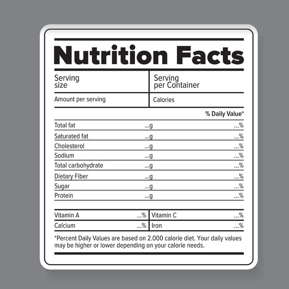 food label template