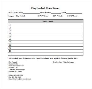 football depth chart template flag football roster template