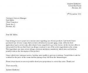 formal complain letters letter of complaint
