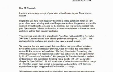 formal complain letters pipex acknowledge formal complaint fullsize x