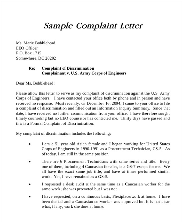 Formal Complaints Letter  Template Business