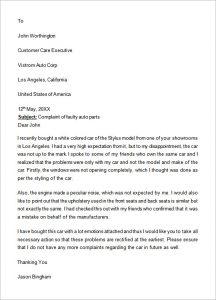 formal complaints letter formal complaint letter