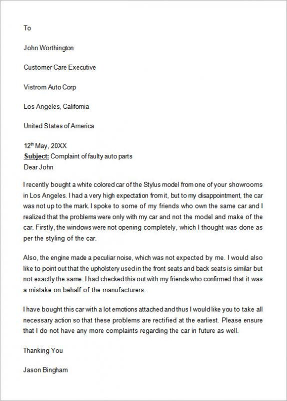 Formal complaints letter template business for Formal letter of complaint to employer template