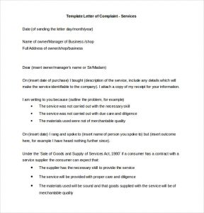 formal complaints letter formal letter of complaint services template