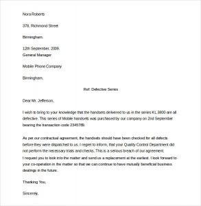 formal complaints letter sample formal complaint letter template