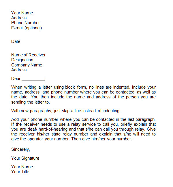 Formal Letter Format  Template Business