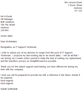 formal resign letter template it support technician resignation letter