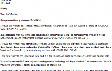 formal resignation letter formal resignation letter weeks notice