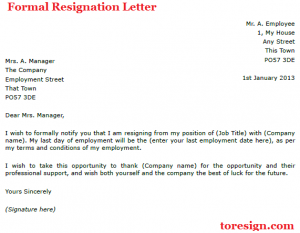 formal resignation letter formal resignation letter example