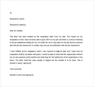 formal resignation letter formal resignation letter to download in word