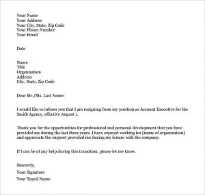 formal resignation letter sample formal resignation letter pdf