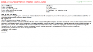 format for a cover letter infection control nurse application letter