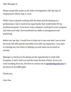 format for a cover letter thankful resignation letter